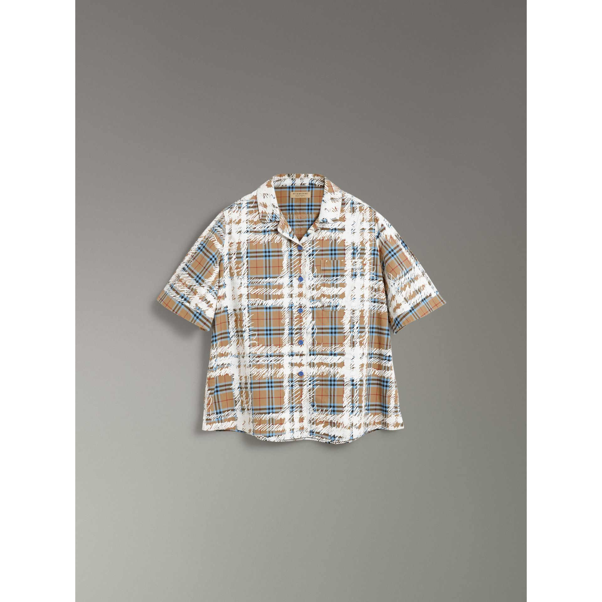 Short-sleeve Scribble Check Cotton Shirt in Bright Mineral Blue - Women | Burberry United Kingdom - gallery image 3