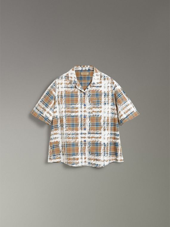Short-sleeve Scribble Check Cotton Shirt in Bright Mineral Blue - Women | Burberry - cell image 3