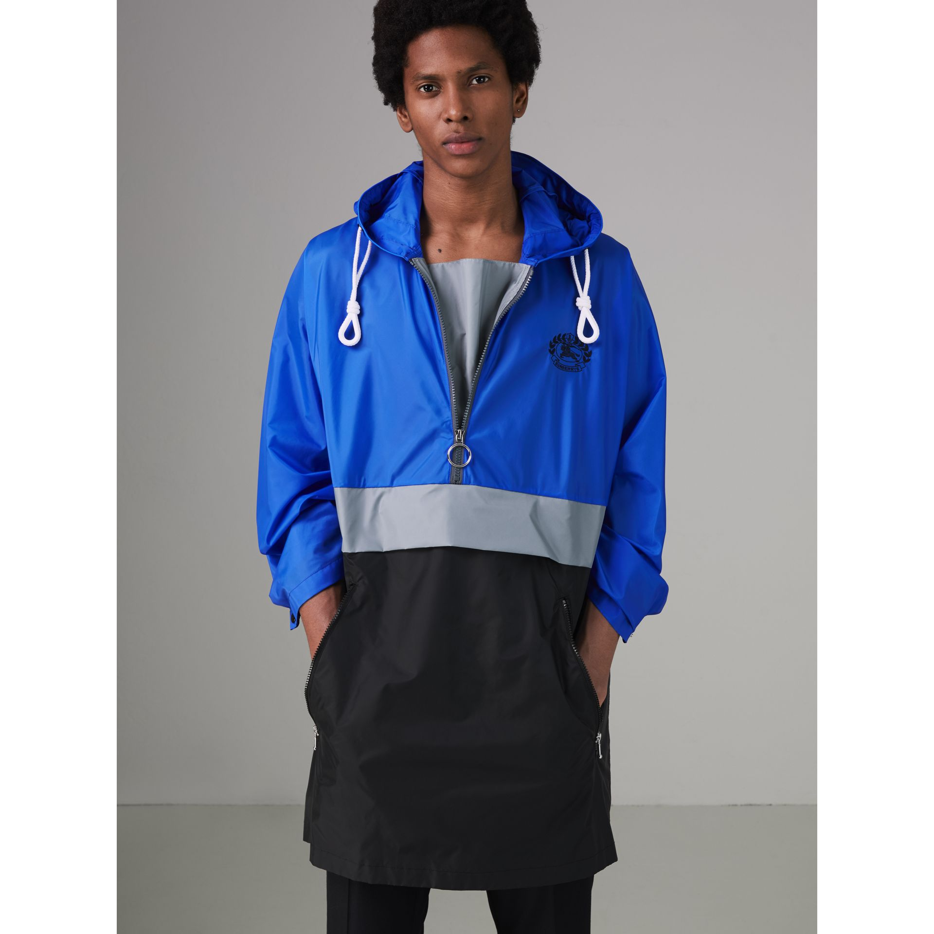 Colour Block Lightweight Half-zip Parka in Sapphire Blue - Men | Burberry United Kingdom - gallery image 5