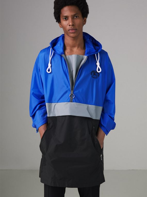 Colour Block Lightweight Half-zip Parka in Sapphire Blue