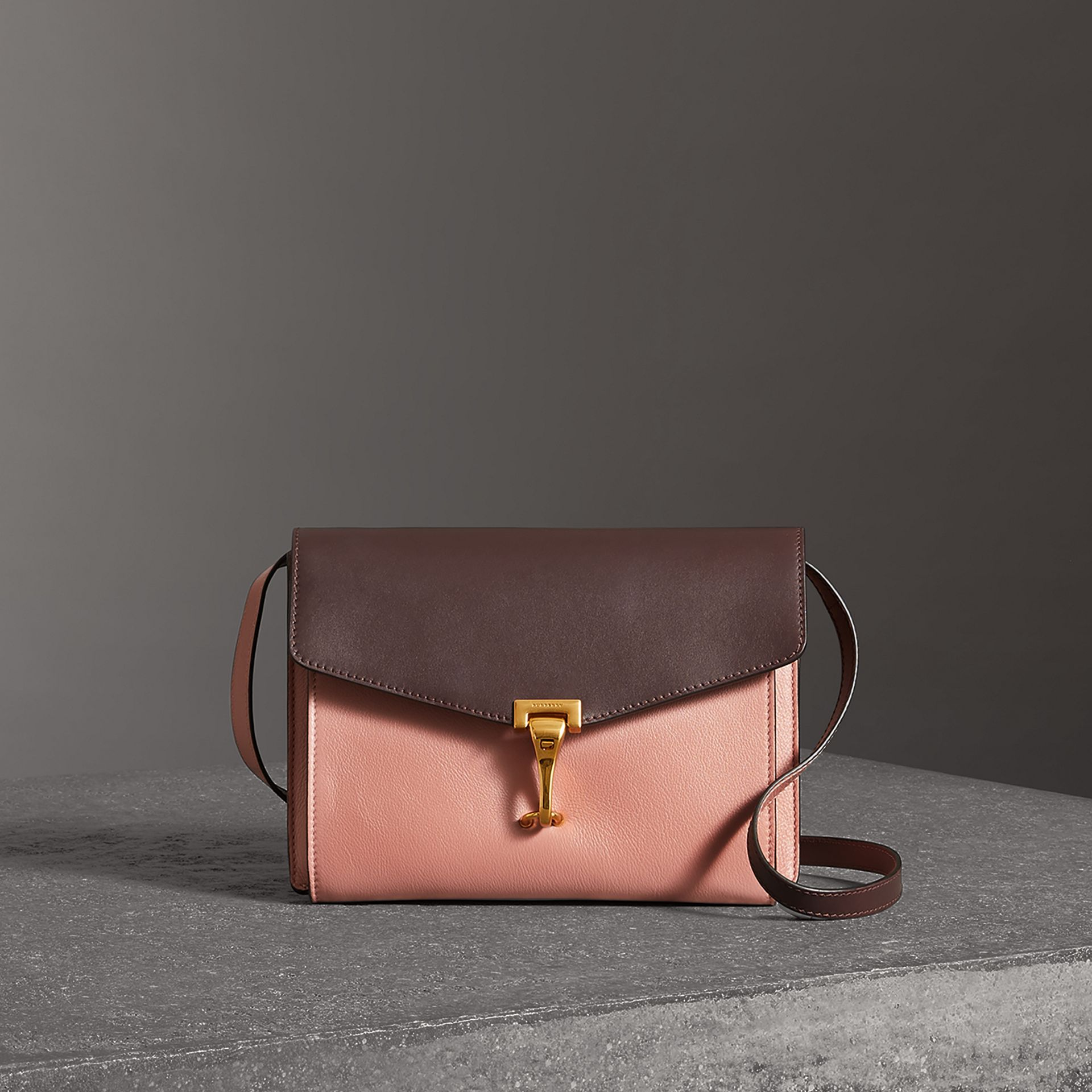 Two-tone Leather Crossbody Bag in Dusty Rose/deep Claret - Women | Burberry Australia - gallery image 0