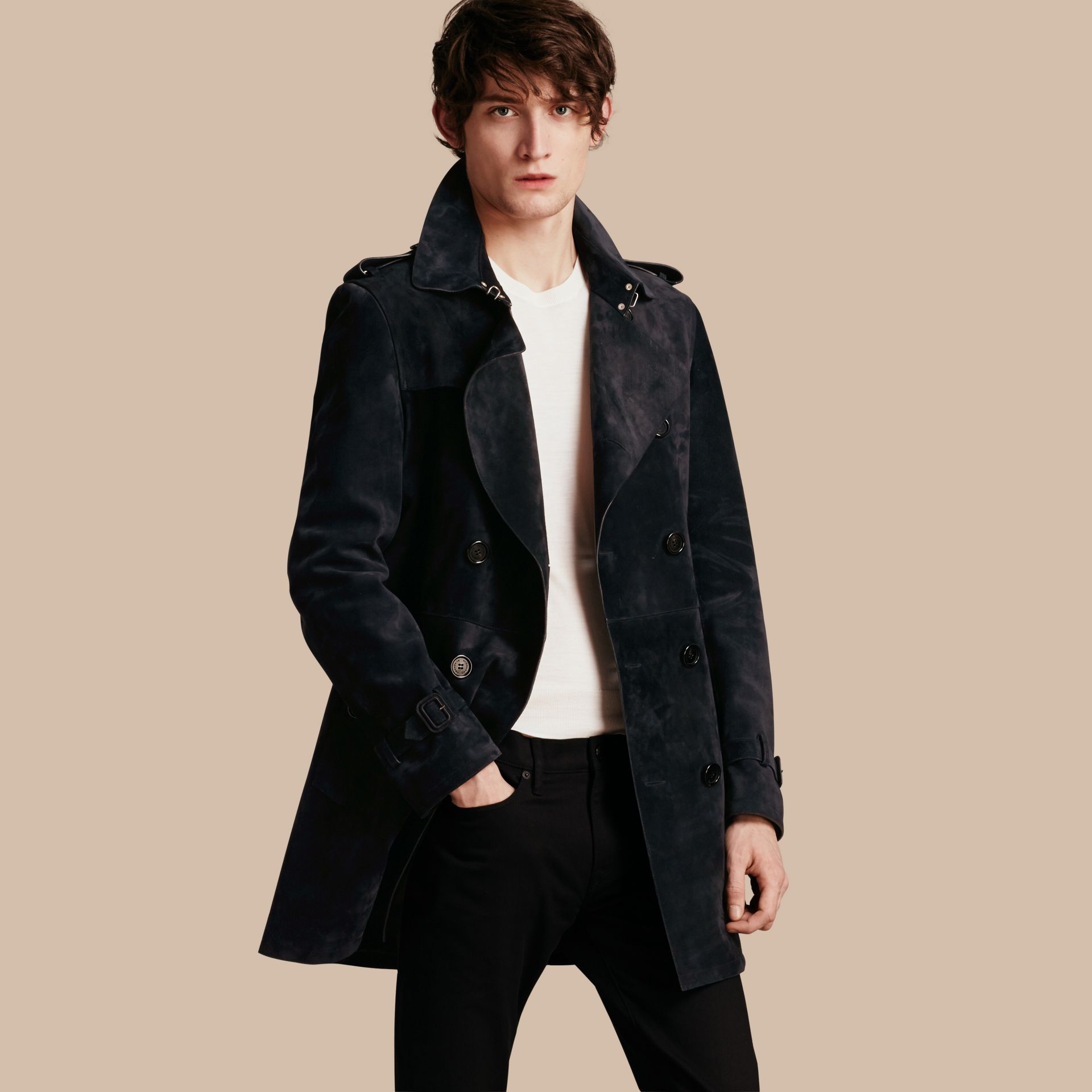 Navy Suede Trench Coat - gallery image 1