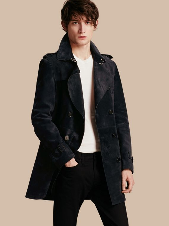 Trench-coat en cuir velours