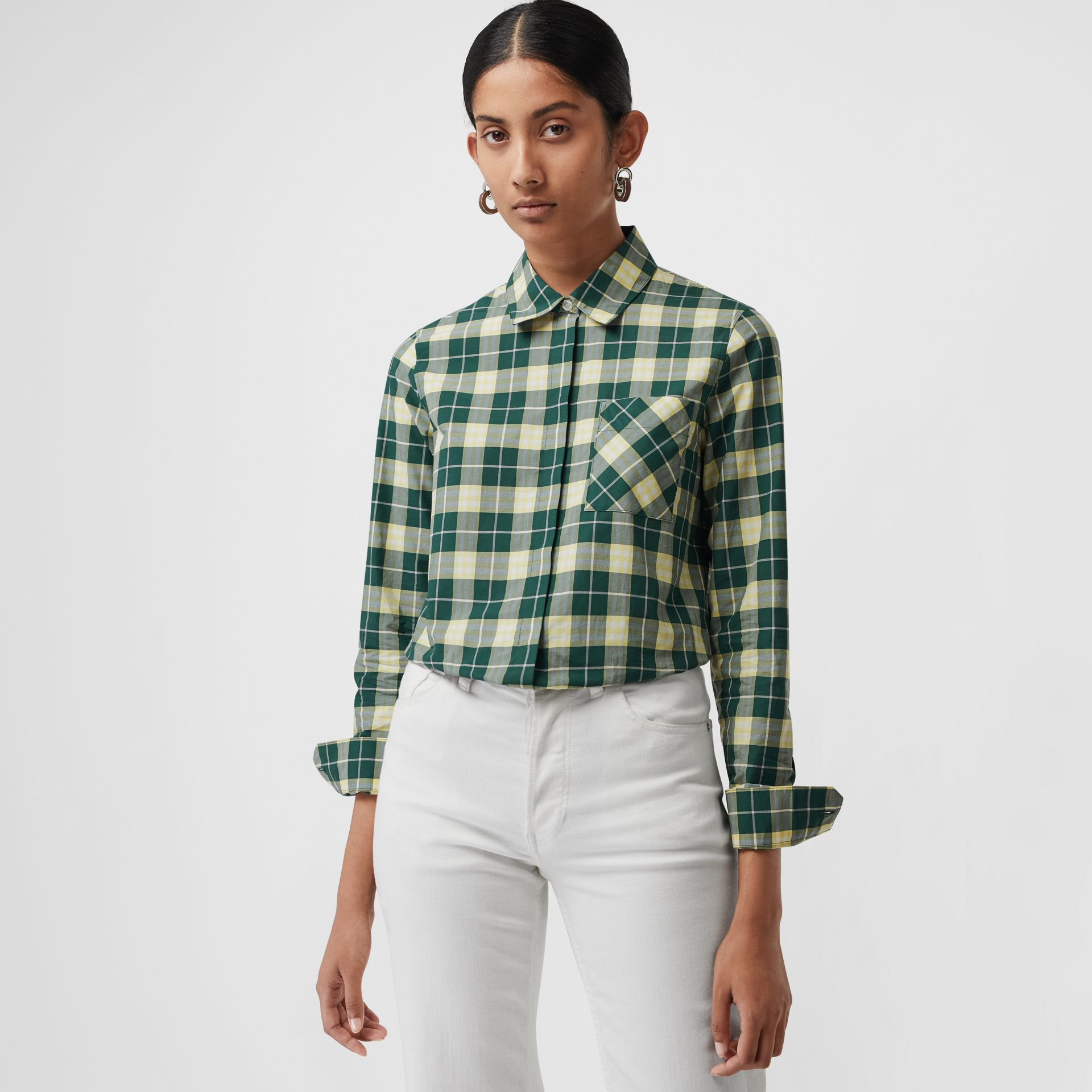 Check Cotton Shirt in Dark Cedar Green - Women | Burberry - gallery image 0