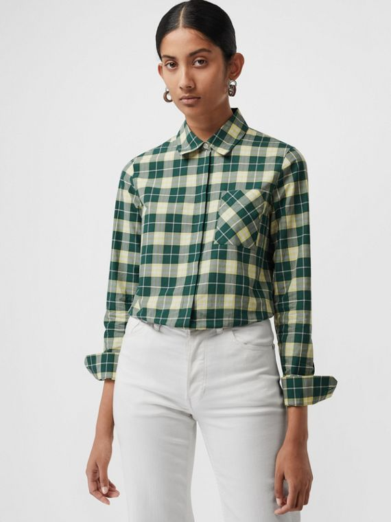 Chemise en coton à motif check (Vert Cèdre Sombre)