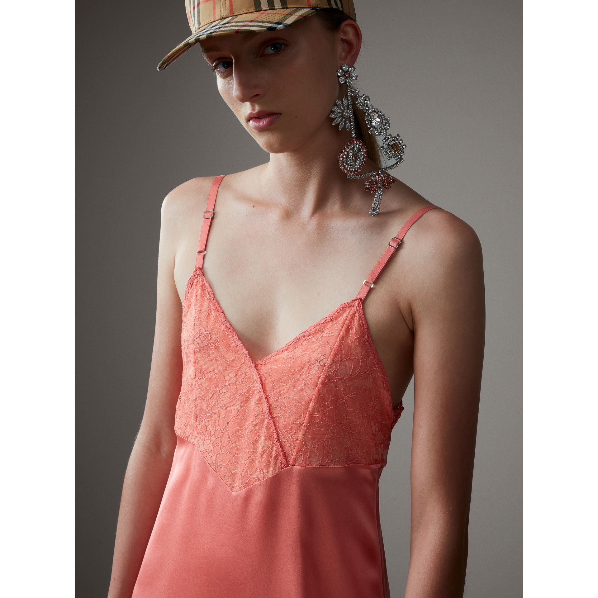 Chantilly Lace Trim Silk Slip Dress in Coral Red - Women | Burberry United States - gallery image 1