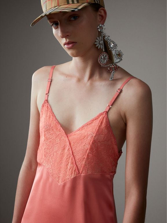 Chantilly Lace Trim Silk Slip Dress in Coral Red - Women | Burberry - cell image 1