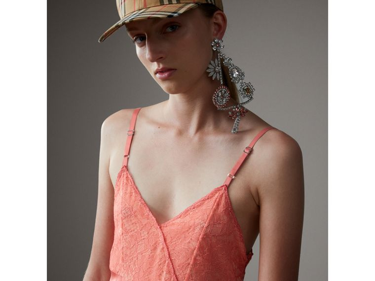 Chantilly Lace Trim Silk Slip Dress in Coral Red - Women | Burberry Australia - cell image 1
