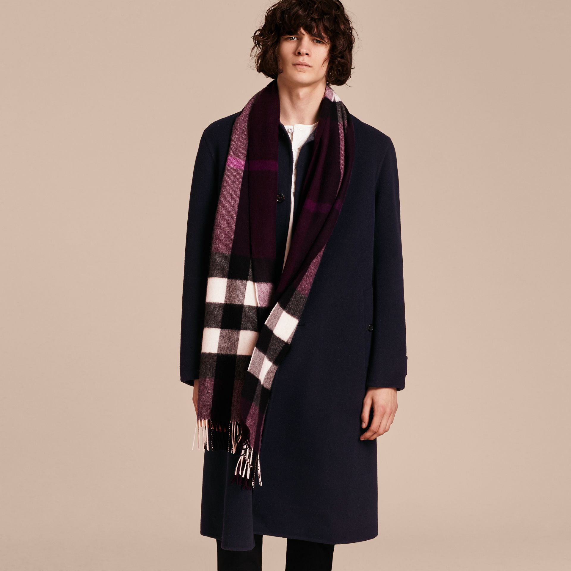 The Large Classic Cashmere Scarf in Check Aubergine - gallery image 4
