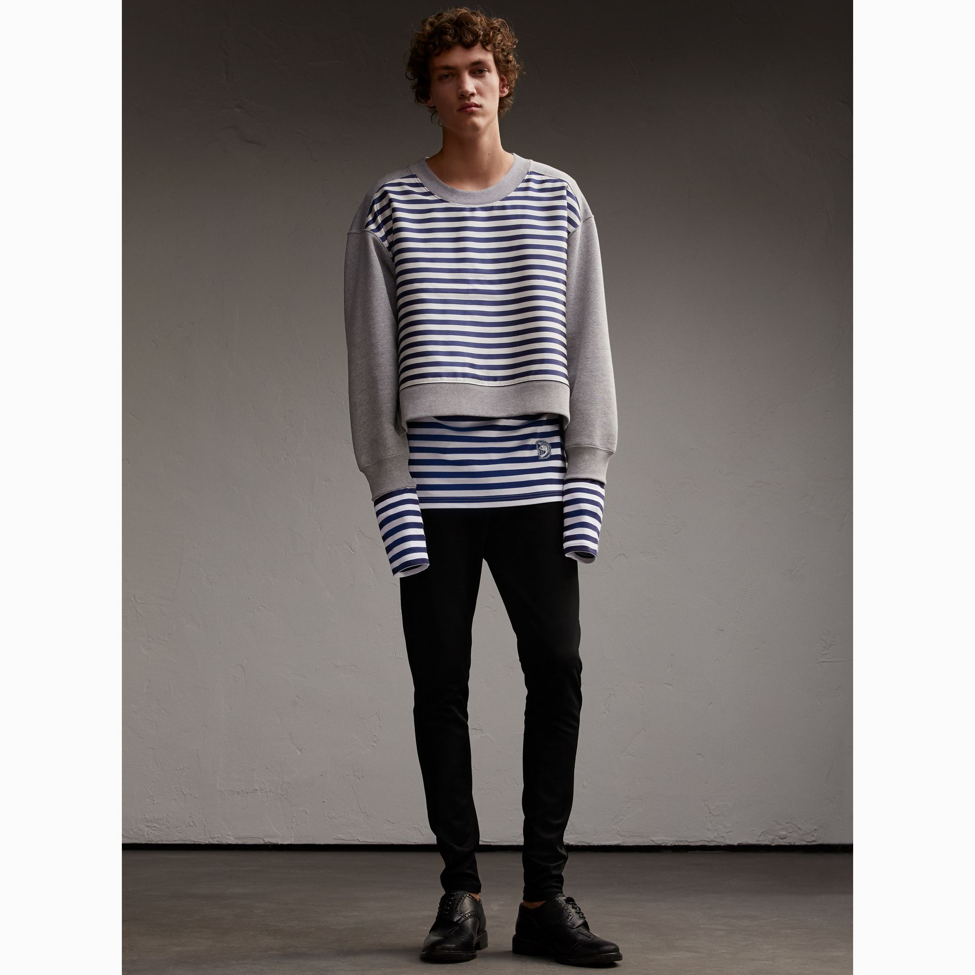 Unisex Striped Silk Cotton Panel Sweatshirt - Men | Burberry - gallery image 7