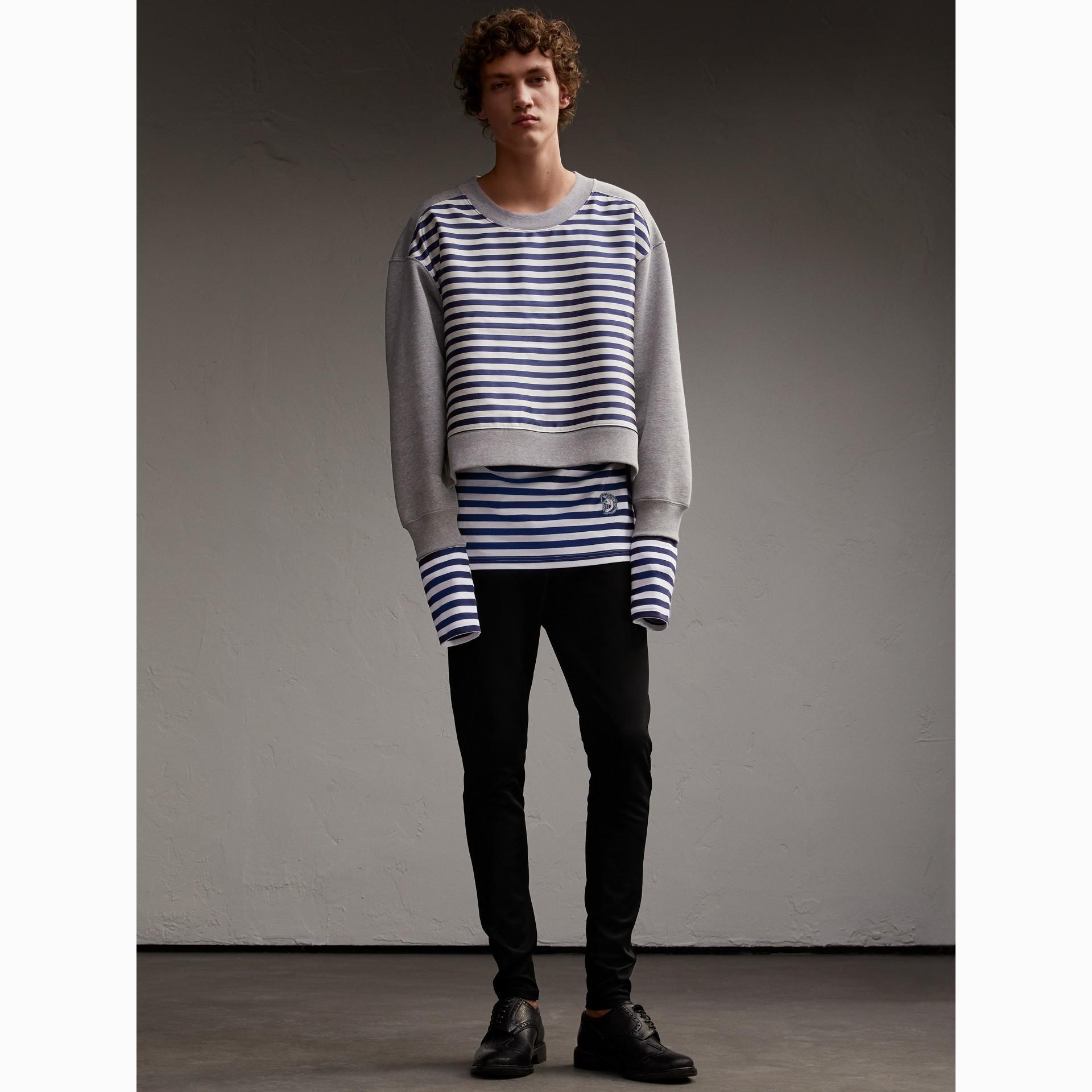 Unisex Striped Silk Cotton Panel Sweatshirt in Grey Melange - Men | Burberry - gallery image 7