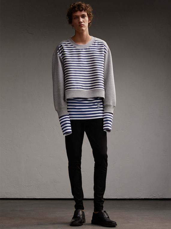 Unisex Striped Silk Cotton Panel Sweatshirt