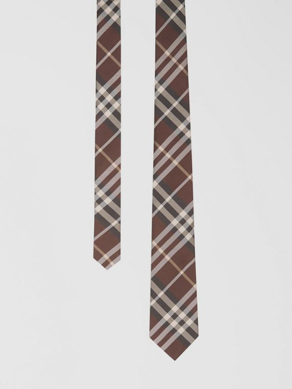 Classic Cut Vintage Check Silk Tie in Burgundy