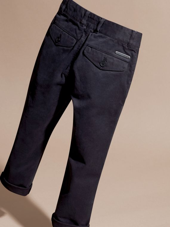 Navy Stretch Cotton Twill Chinos - cell image 3