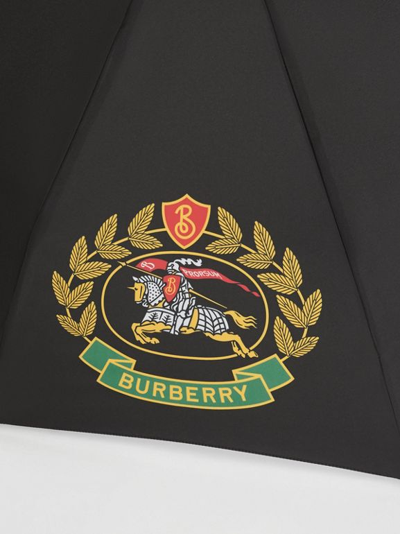 Crest Print Folding Umbrella in Black | Burberry - cell image 1