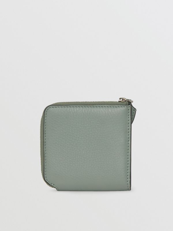 Grainy Leather Square Ziparound Wallet in Grey Blue - Women | Burberry - cell image 2