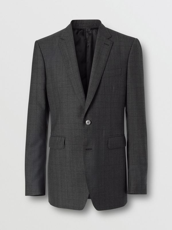 Classic Fit Check Wool Three-piece Suit in Charcoal Melange - Men | Burberry - cell image 3