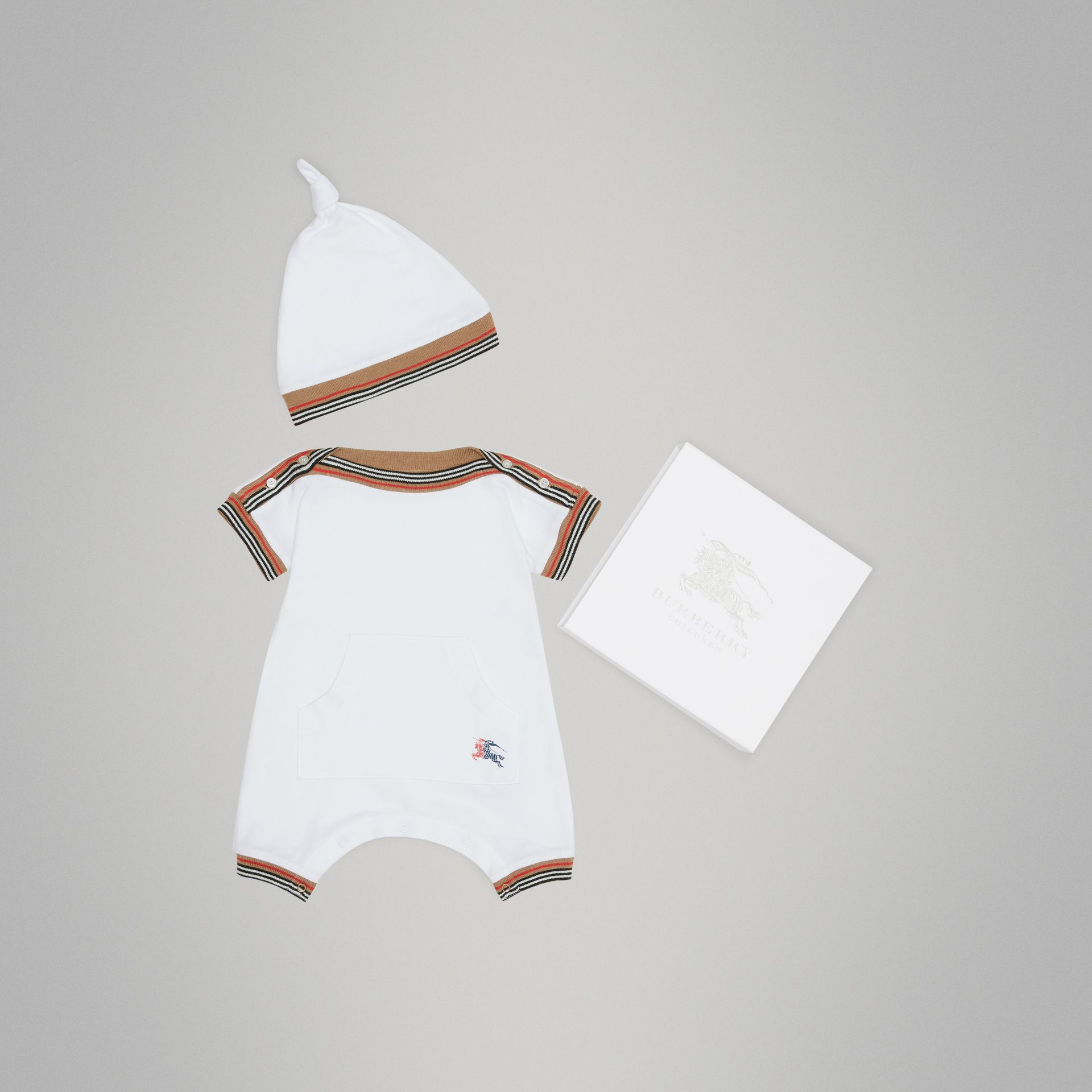 Heritage Stripe Cotton Piqué Two-piece Baby Gift Set in White | Burberry United States - gallery image 0