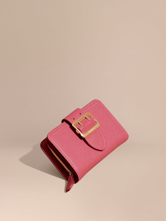 Buckle Detail Grainy Leather Wallet Pink Azalea