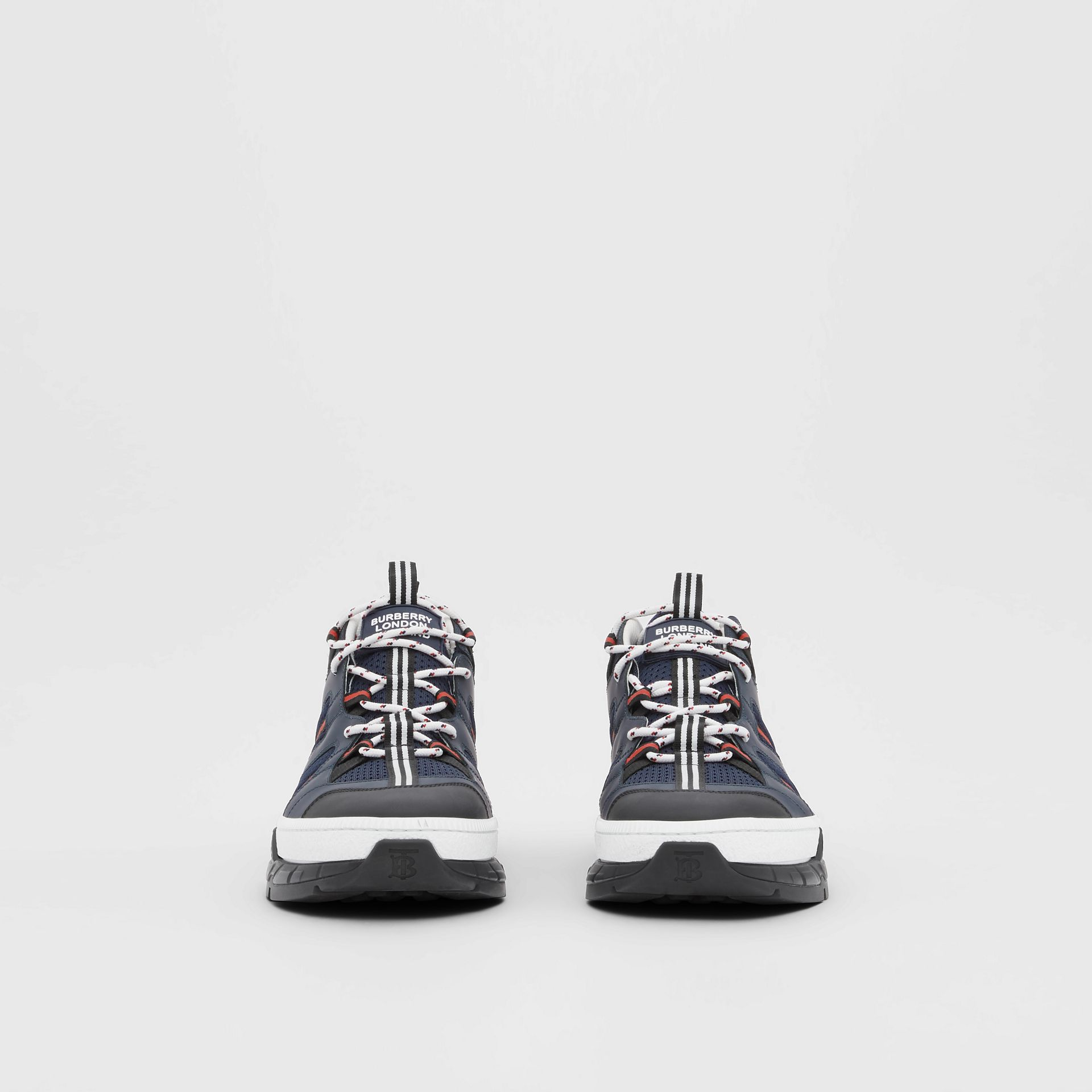 Leather and Mesh Union Sneakers in Navy - Men | Burberry - gallery image 3