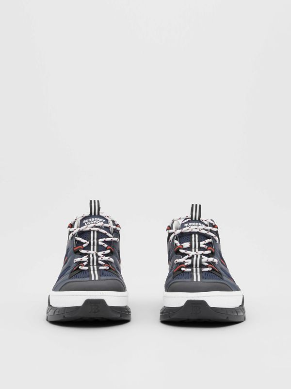 Leather and Mesh Union Sneakers in Navy - Men | Burberry - cell image 3