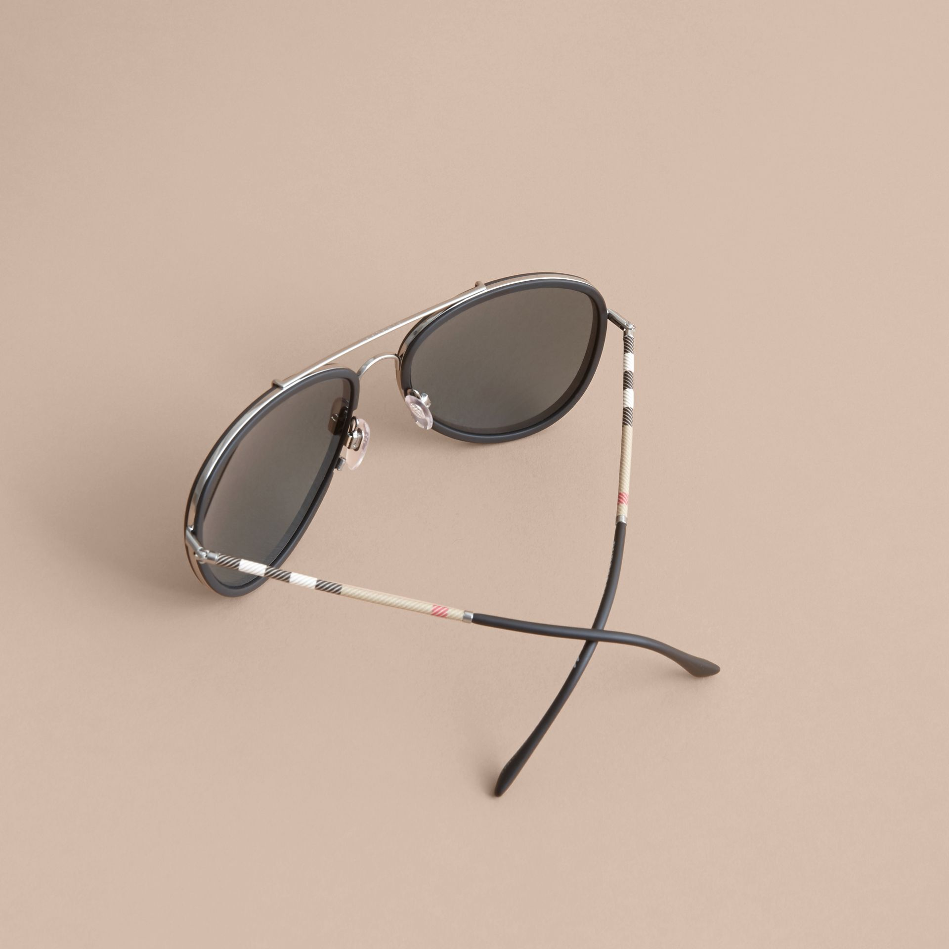 Check Detail Pilot Sunglasses in Blue - Men | Burberry United Kingdom - gallery image 3