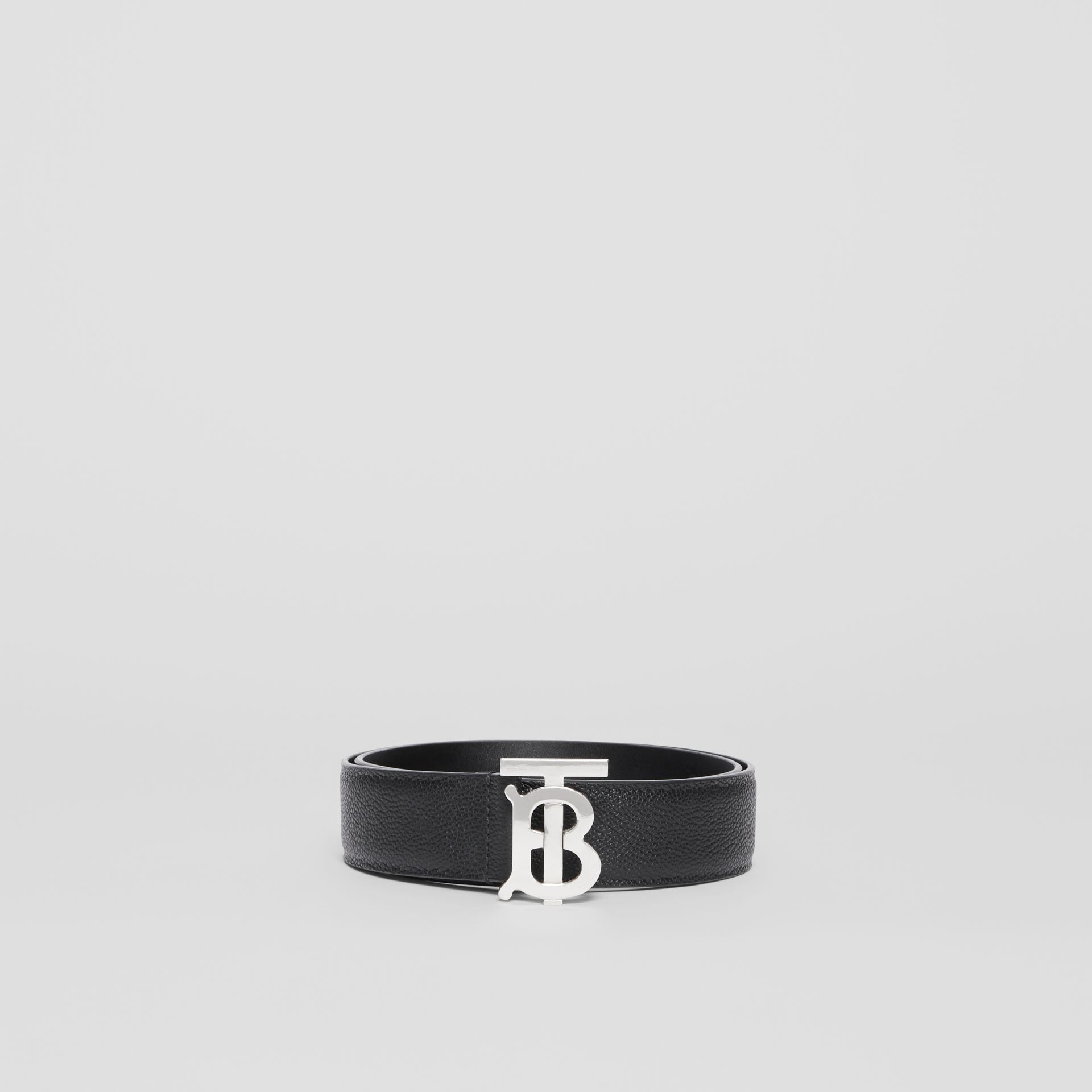 Monogram Motif Grainy Leather Belt in Black - Men | Burberry United States - gallery image 2