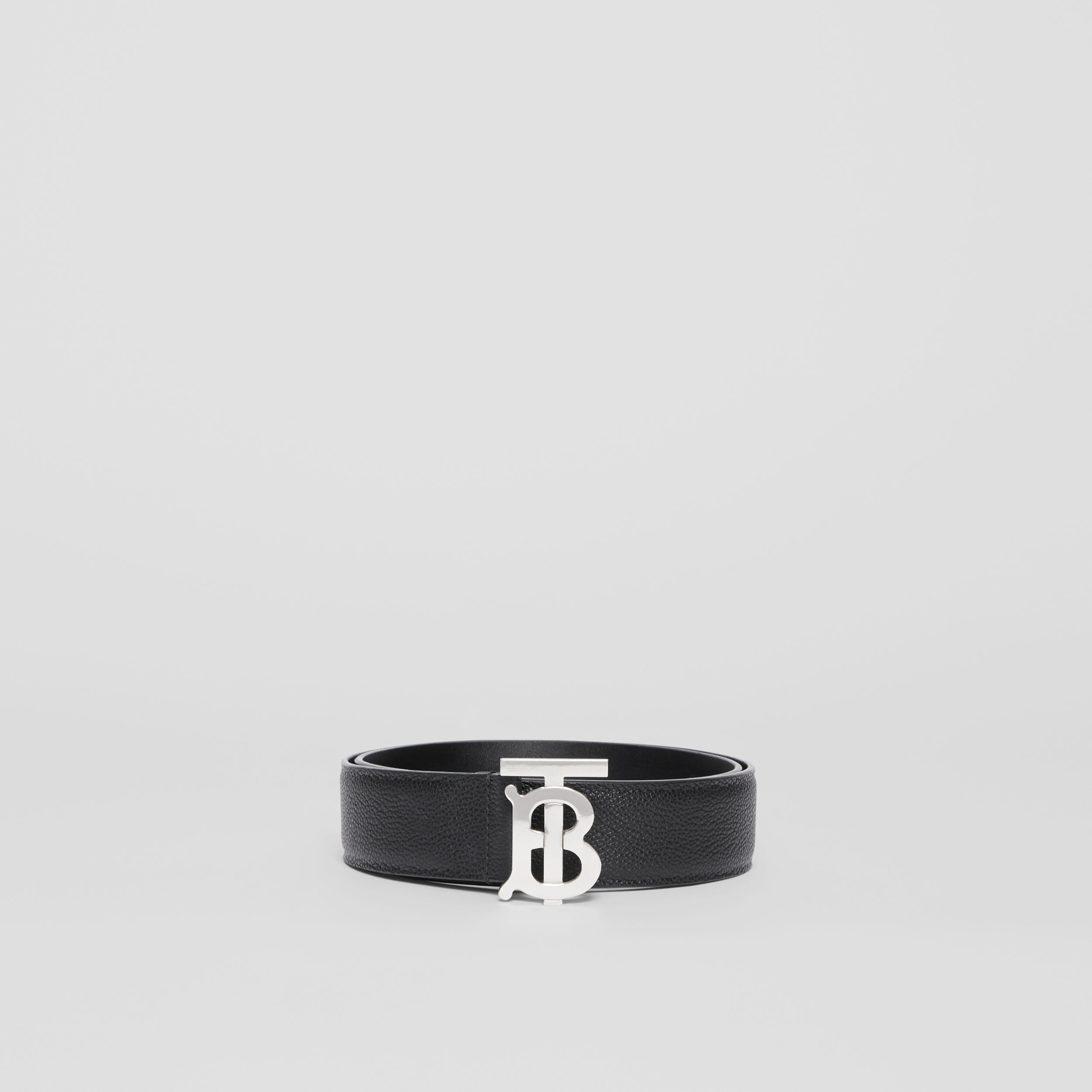 Monogram Motif Grainy Leather Belt in Black - Men | Burberry Singapore - 3