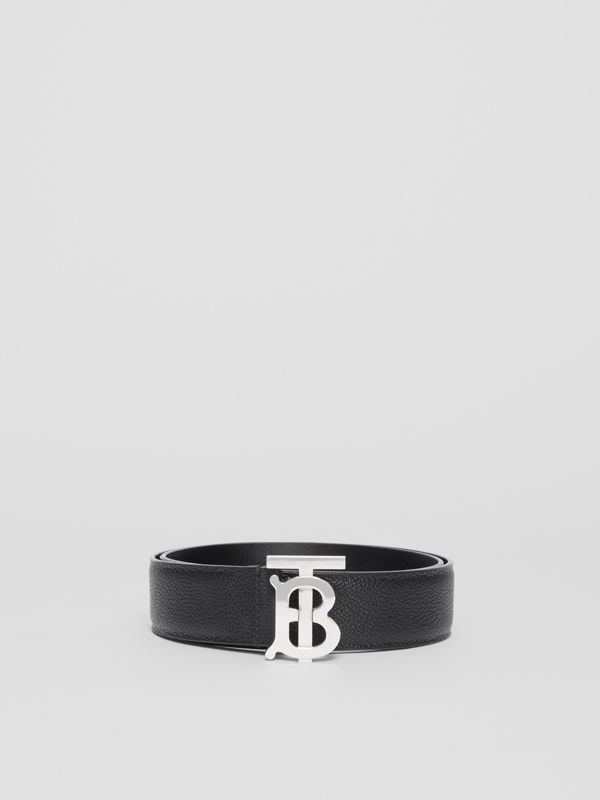 Monogram Motif Grainy Leather Belt in Black - Men | Burberry - cell image 2