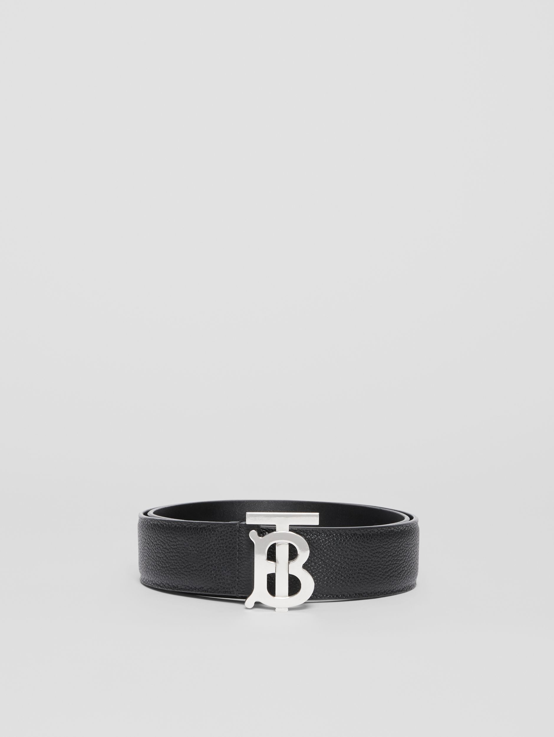 Monogram Motif Grainy Leather Belt in Black - Men | Burberry - 3