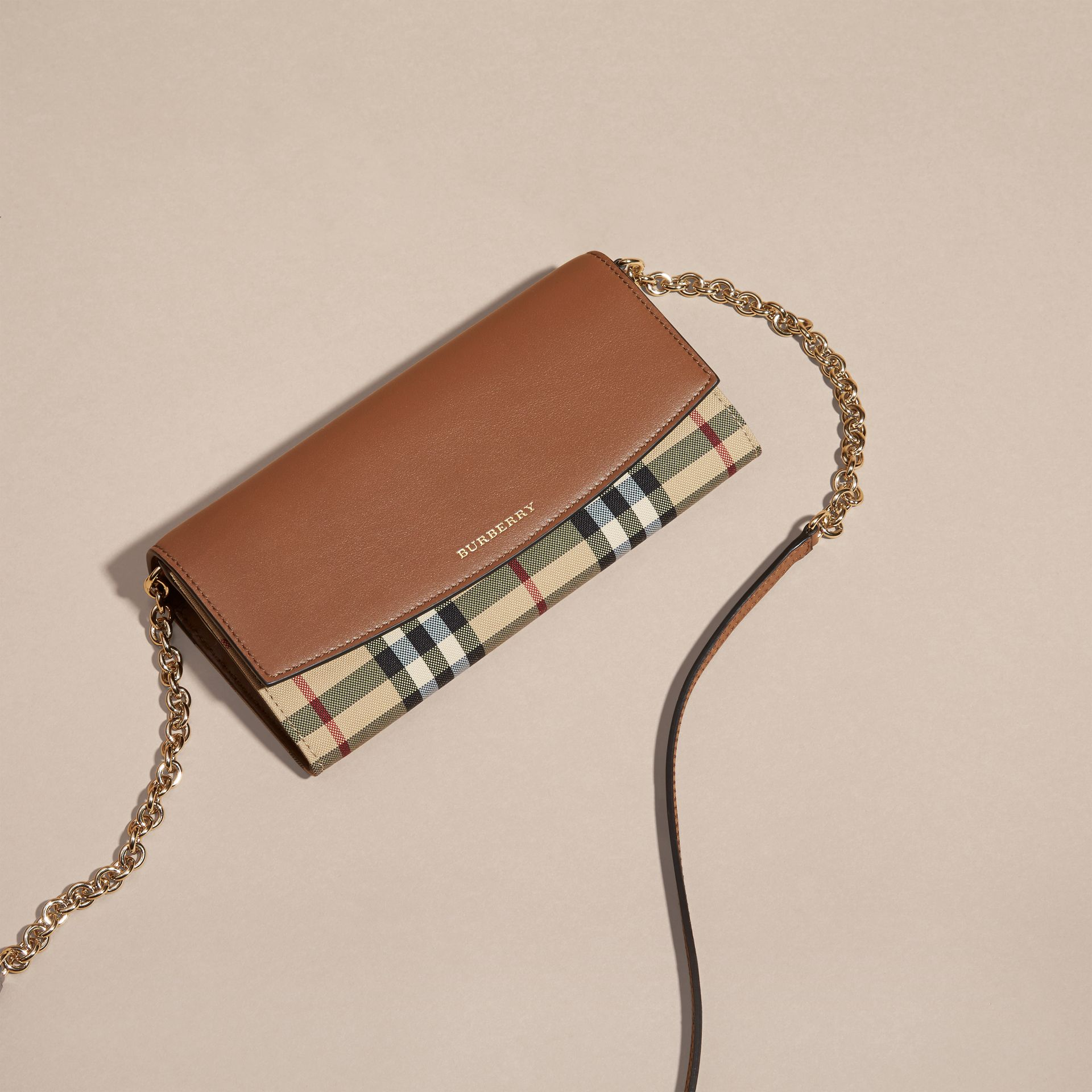 Horseferry Check and Leather Wallet with Chain in Tan - Women | Burberry - gallery image 7