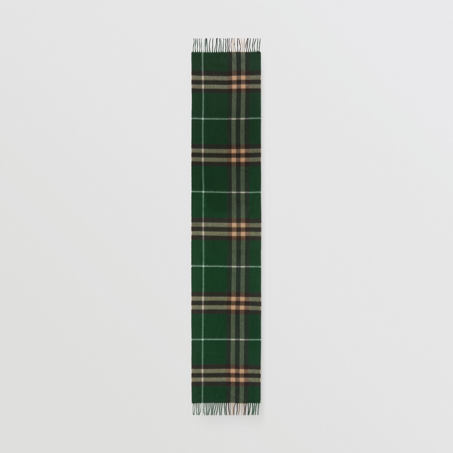 The Classic Check Cashmere Scarf in Dark Pine Green | Burberry United Kingdom - gallery image 5