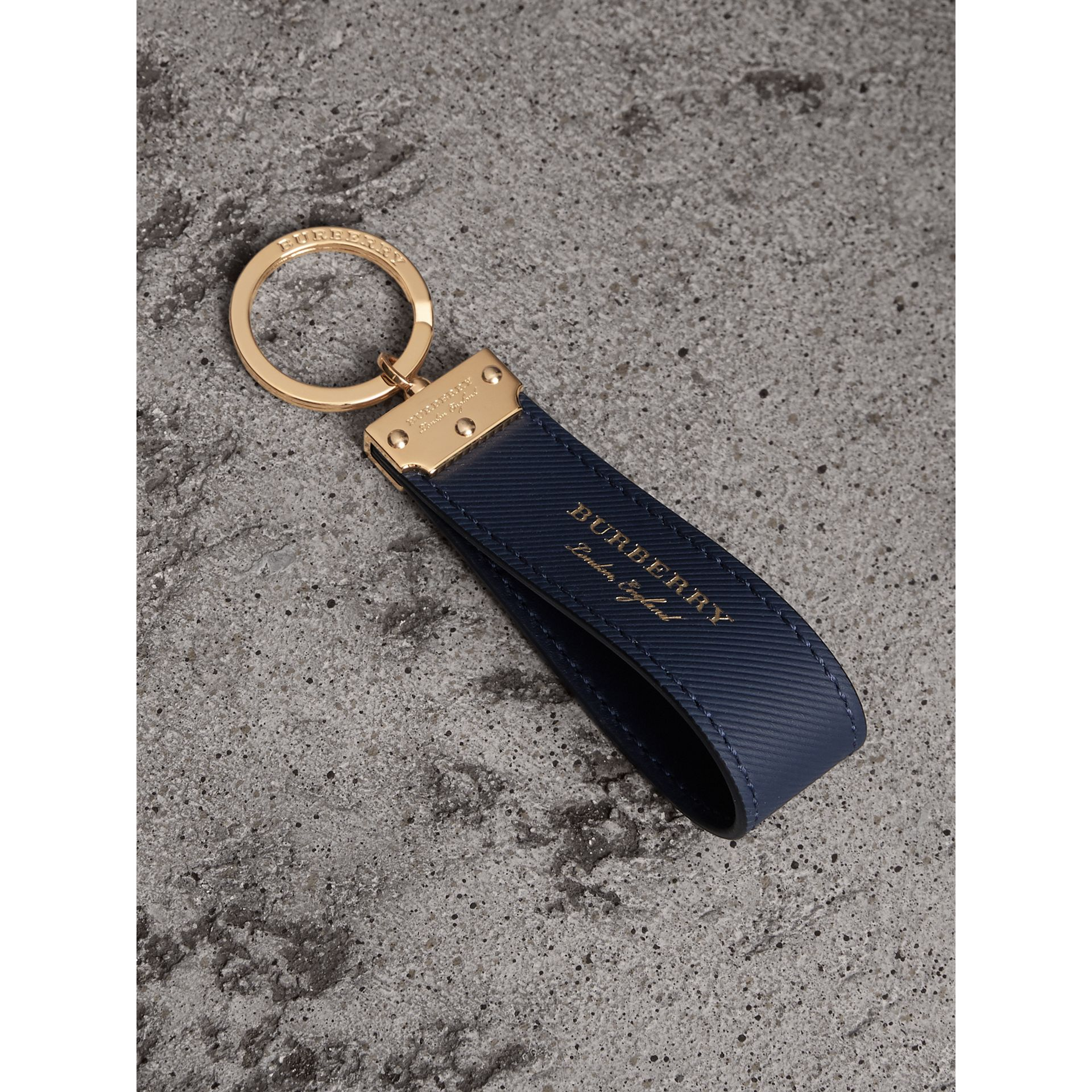 Trench Leather Key Ring in Ink Blue - Men | Burberry - gallery image 0