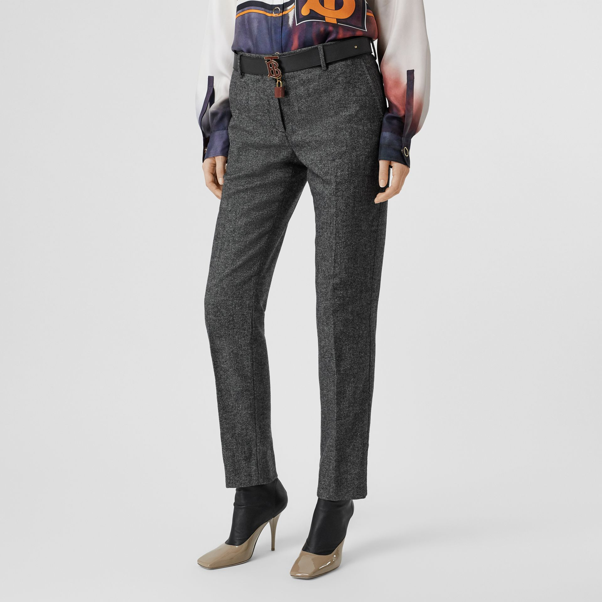 Wool Cashmere Tweed Cropped Tailored Trousers in Black Melange - Women | Burberry - gallery image 4