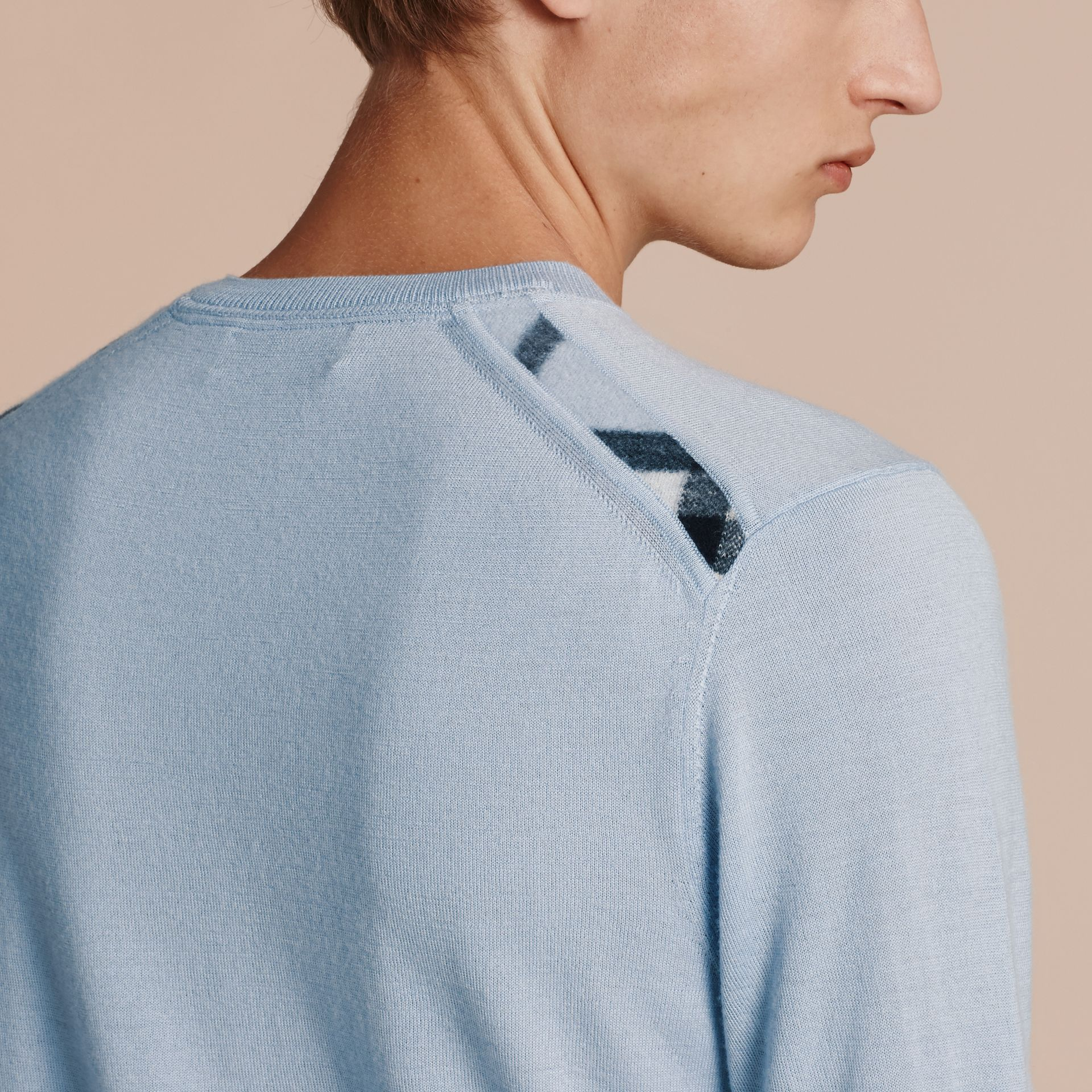 Lightweight Crew Neck Cashmere Sweater with Check Trim in Light Blue - Men | Burberry - gallery image 5