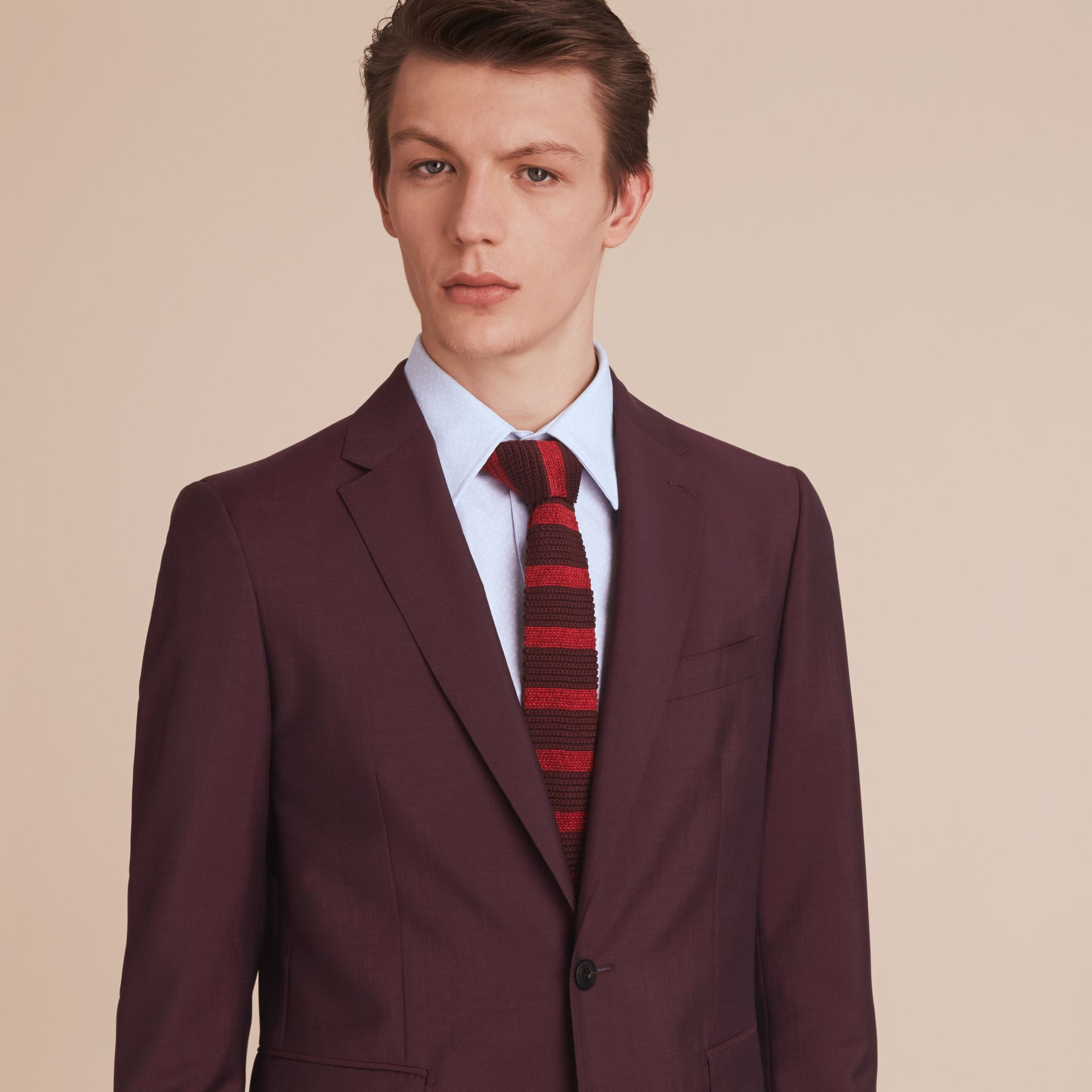 Slim Cut Two-tone Knitted Silk Tie in Burgundy - Men | Burberry Australia - gallery image 3