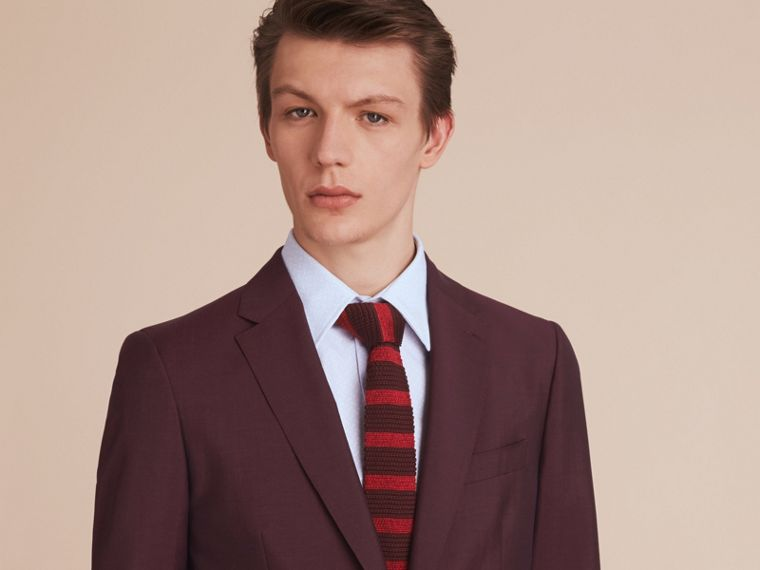 Slim Cut Two-tone Knitted Silk Tie in Burgundy - Men | Burberry - cell image 2