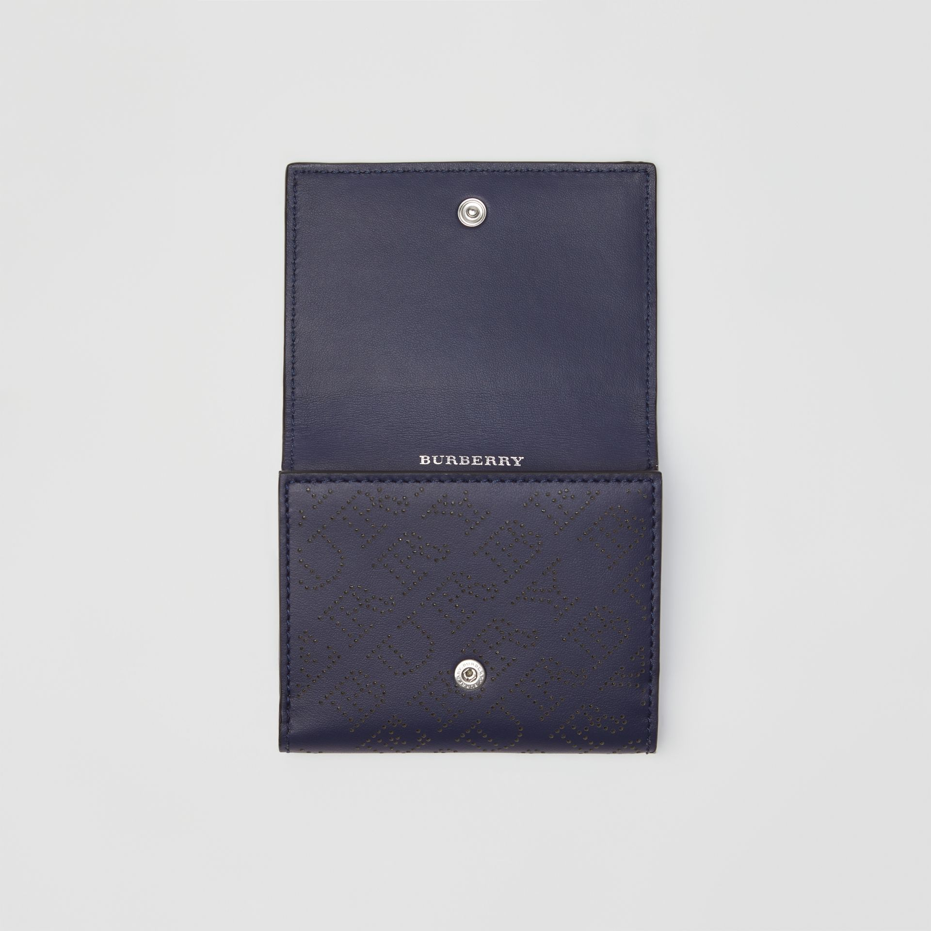 Small Perforated Logo Leather Wallet in Navy - Women | Burberry United Kingdom - gallery image 3