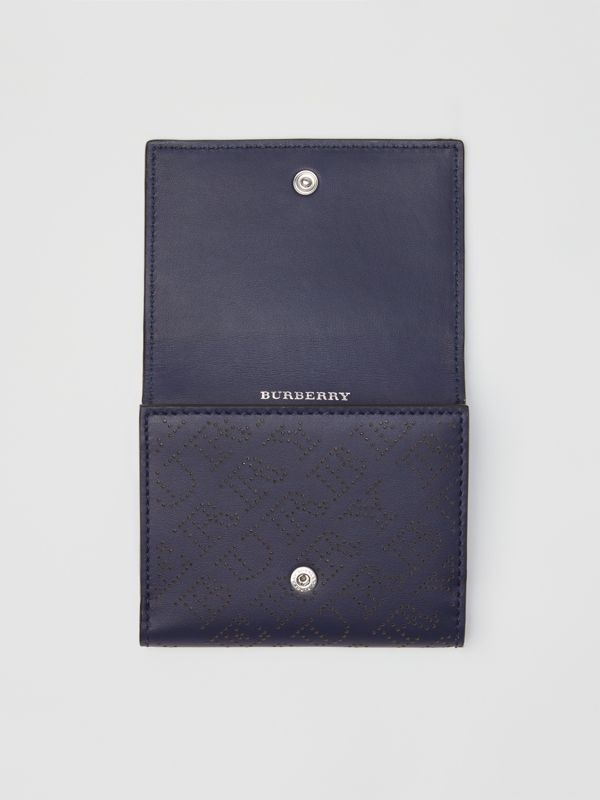 Small Perforated Logo Leather Wallet in Navy - Women | Burberry United Kingdom - cell image 3