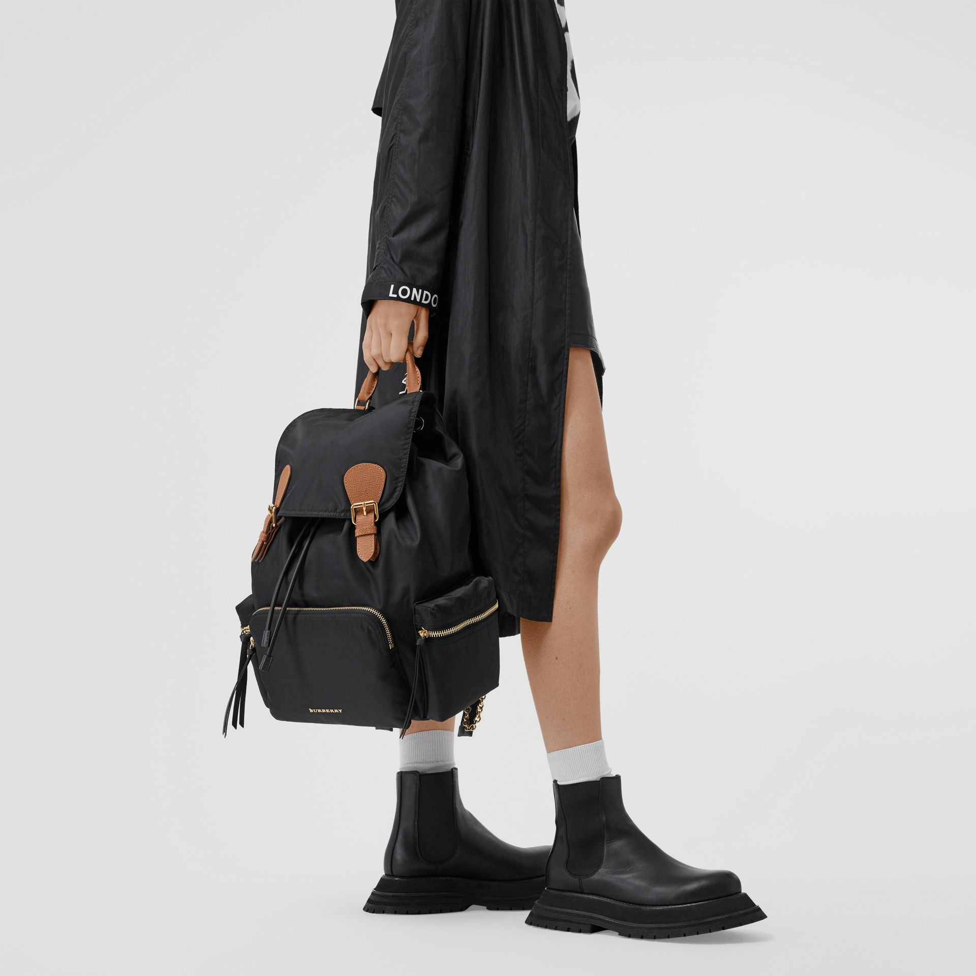 The Large Rucksack in Technical Nylon and Leather in Black - Women | Burberry Canada - gallery image 2