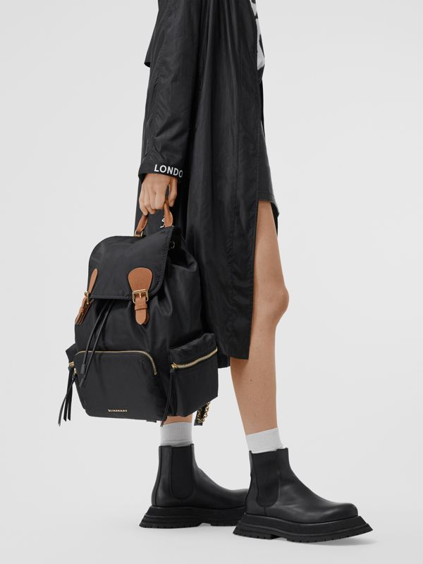 The Large Rucksack in Technical Nylon and Leather in Black - Women | Burberry United States - cell image 2