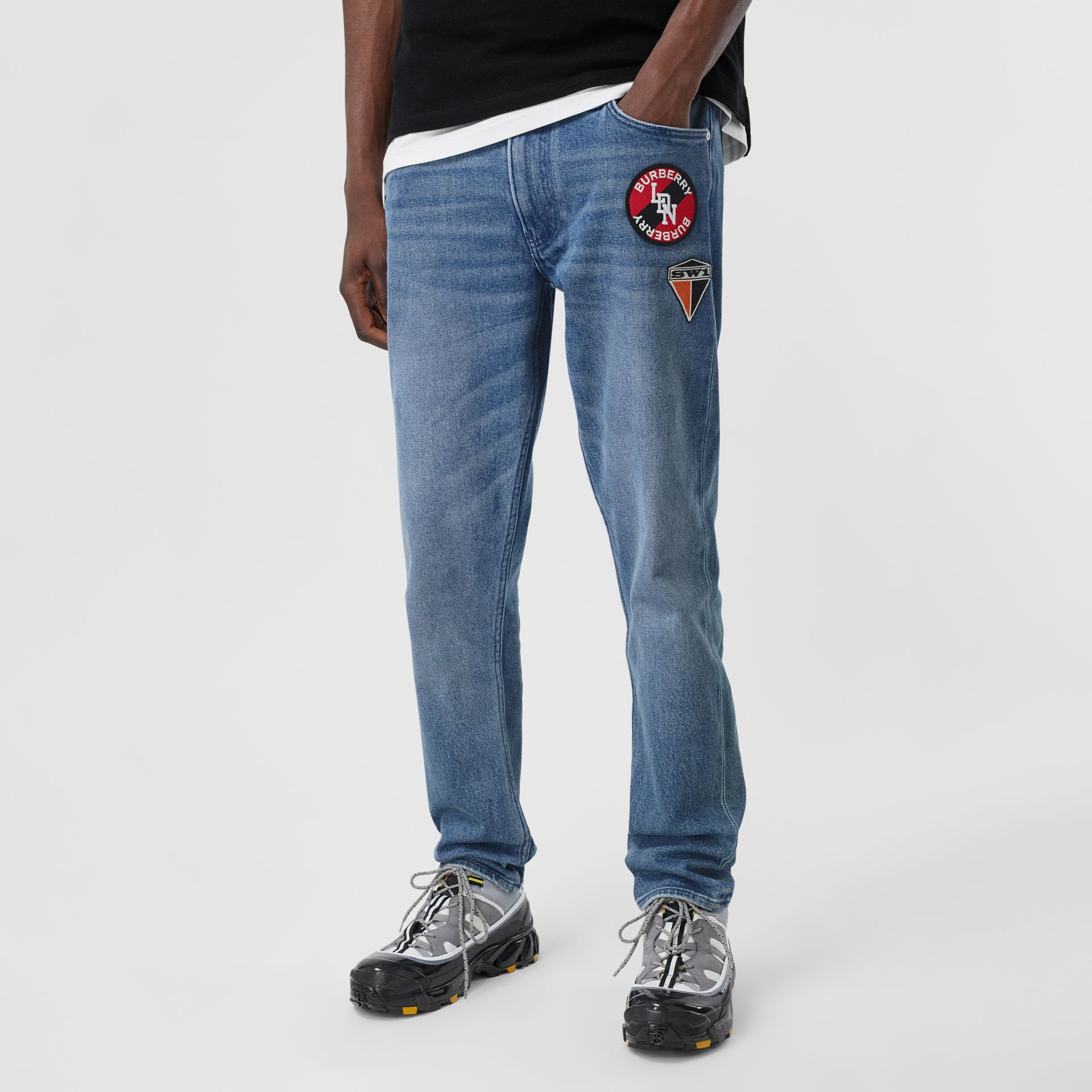 Slim Fit Logo Graphic Washed Jeans in Light Indigo Blue - Men | Burberry - gallery image 3