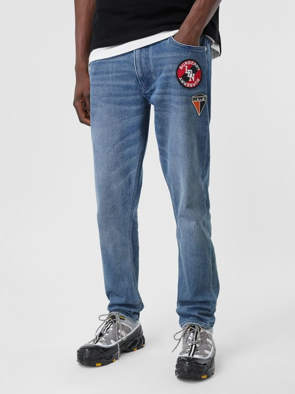 Slim Fit Logo Graphic Washed Jeans in Light Indigo Blue - Men | Burberry - cell image 3