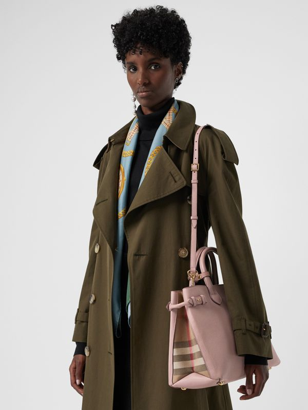 The Banner media in pelle con motivo House check (Orchidea Chiaro) - Donna | Burberry - cell image 3
