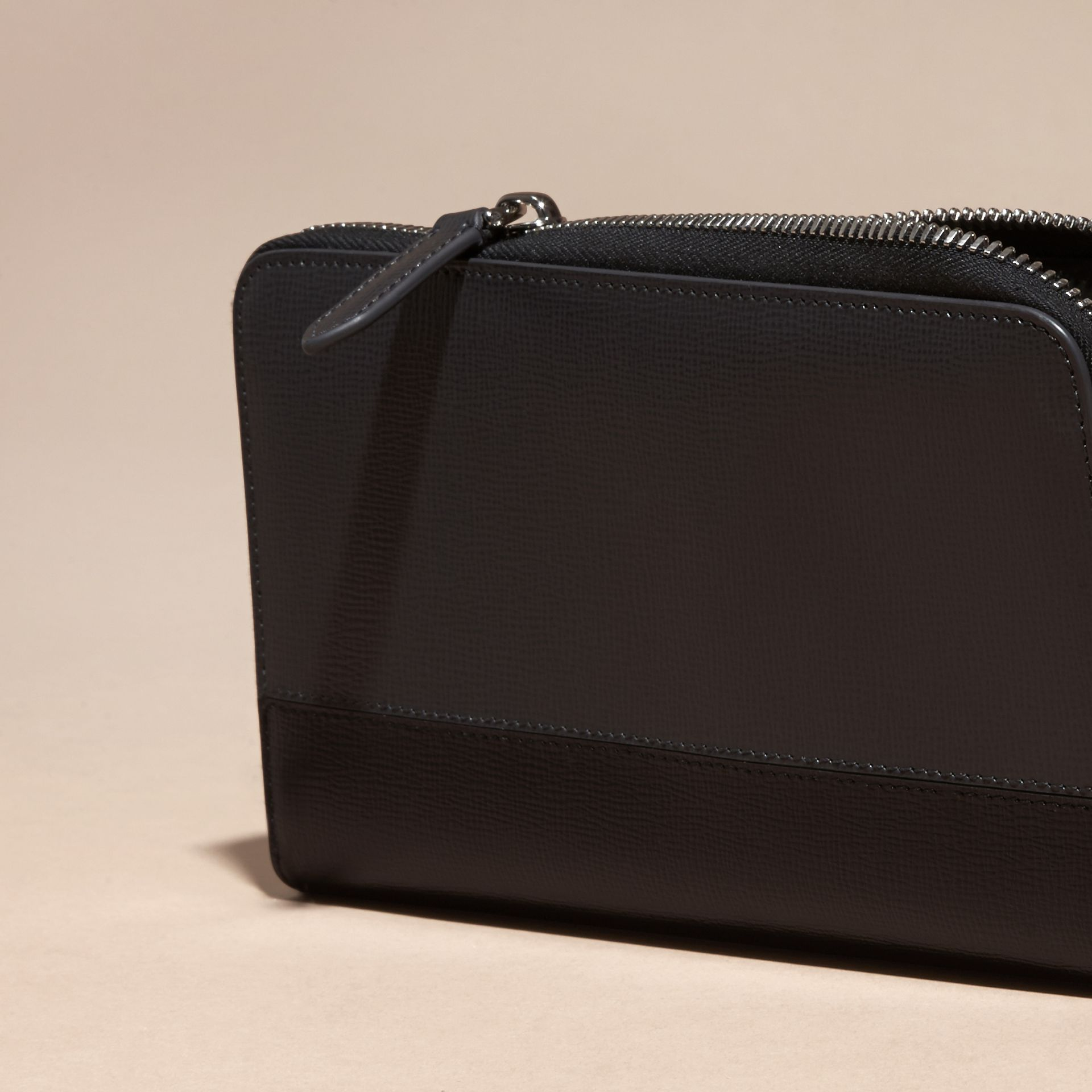 Charcoal/black Colour Block London Leather Ziparound Wallet Charcoal/black - gallery image 2