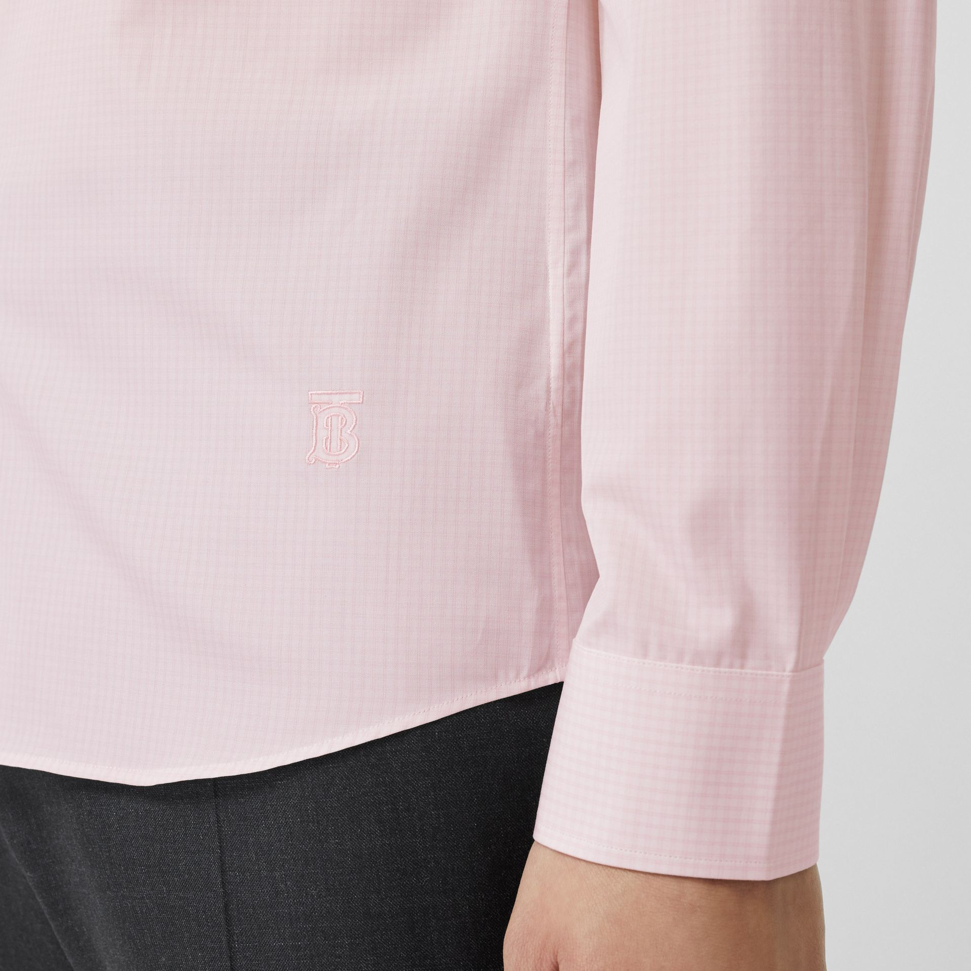 Slim Fit Micro Check Cotton Poplin Shirt in Alabaster Pink - Men | Burberry Australia - gallery image 4