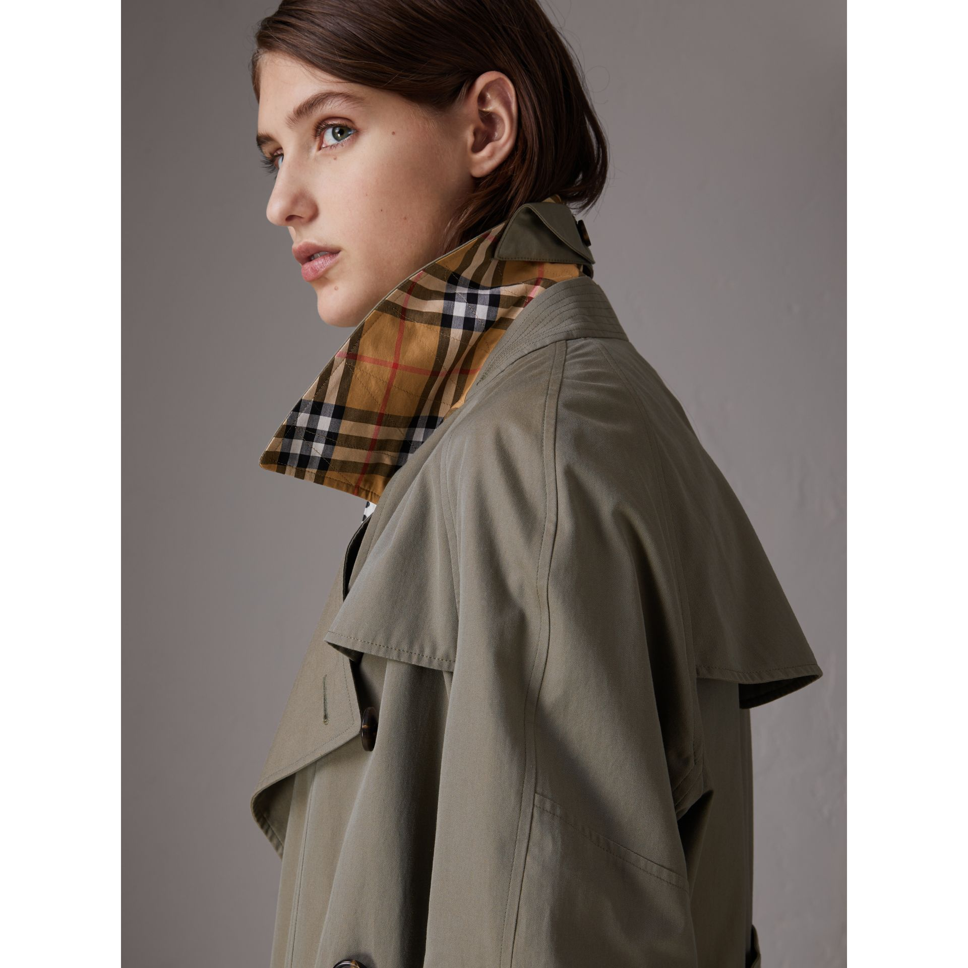 Tropical Gabardine Asymmetric Trench Coat in Chalk Green - Women | Burberry United Kingdom - gallery image 1