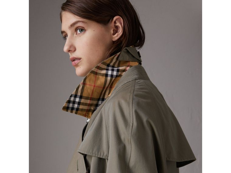 Tropical Gabardine Asymmetric Trench Coat in Chalk Green - Women | Burberry United Kingdom - cell image 1