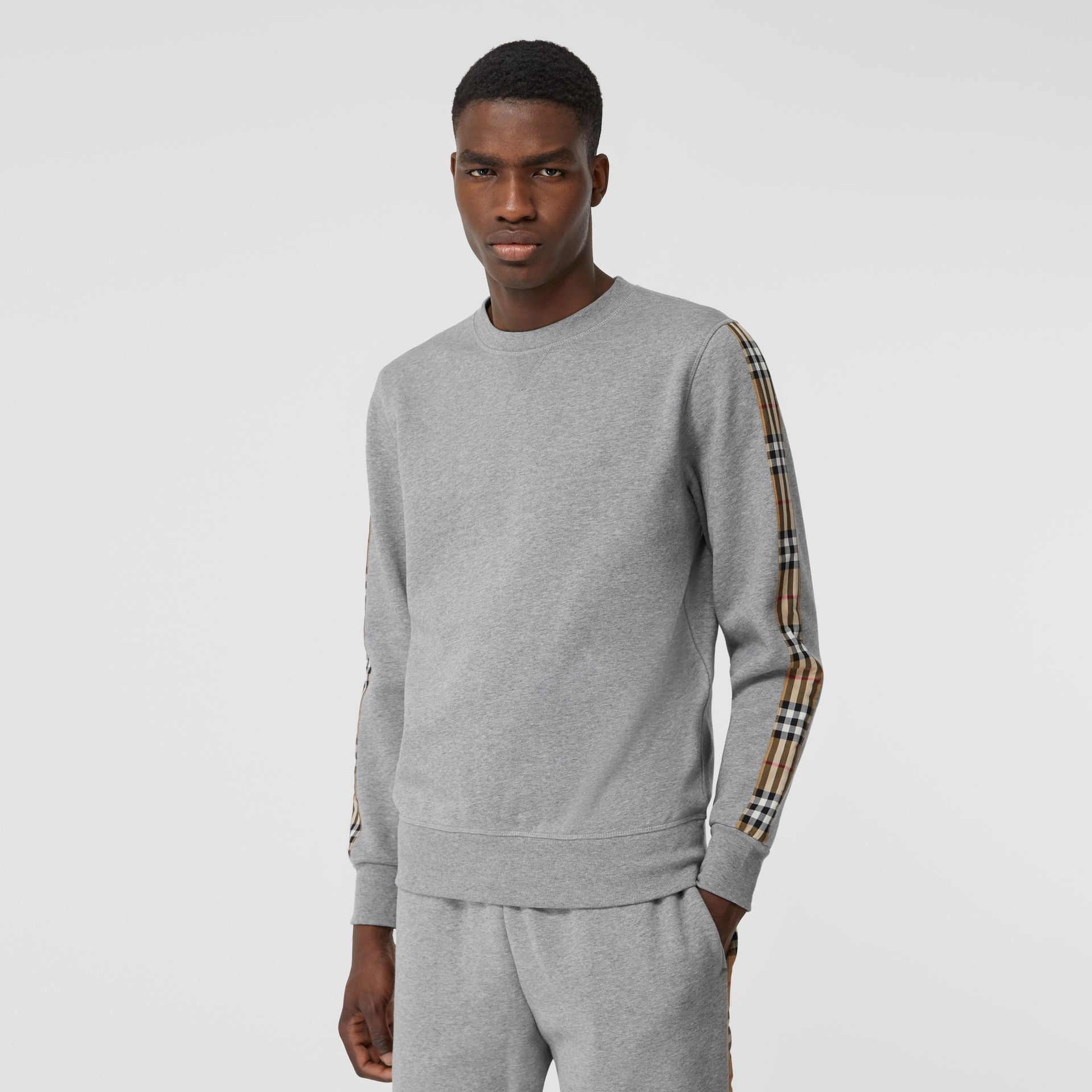 Vintage Check Panel Jersey Sweatshirt in Pale Grey Melange - Men | Burberry Singapore - gallery image 4