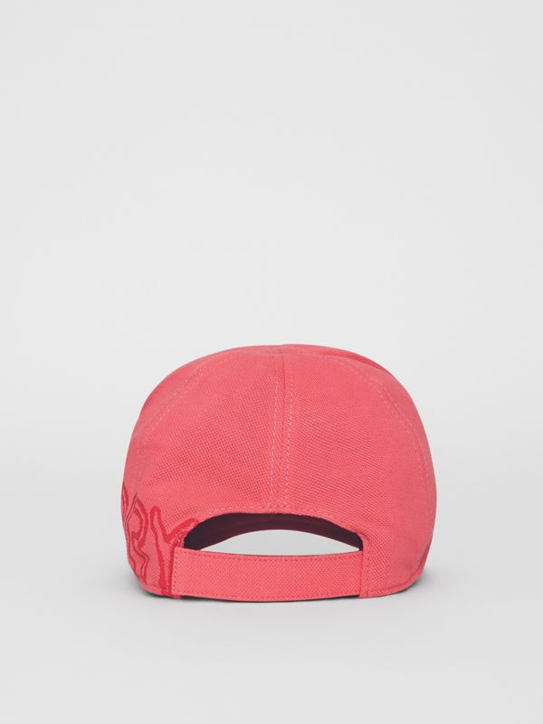 Stencil Logo Print Baseball Cap in Bright Pink/bright Red - Children | Burberry - cell image 3